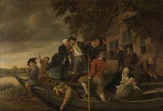 Jan Havicksz. Steen | The merry homecoming, Jan Havicksz. Steen, 1670 - 1679 | Het vrolijk huiswaartskeren. Een dronken man wordt in de richting van een schuit geholpen door een oudere man een een vrouw. In de boot zit een moeder met een kind aan de borst en een jongen die fluit speelt. Op de achtergrond staan drie figuren bij de ingang van de herberg.