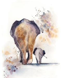 and baby watercolor Elephants mother and baby Fine Art Print, Maternity wall art print, watercolor print of elephants in orange and purple Elefanten Mutter und Baby Kunstdruck, Mutterschaft Wand Kunstdruck, Aquarell Druck von Elefanten in Rost ein Animal Paintings, Animal Drawings, Art Drawings, Elephant Paintings, Drawings Of Elephants, Indian Paintings, Watercolor Print, Watercolor Paintings, Elephant Watercolor