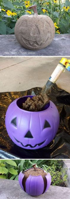 Use a dollar store plastic pumpkin as a mold for a concrete Halloween decoration. Halloween Front Door Decorations, Halloween Front Doors, Homemade Halloween Decorations, Diy Halloween Ornaments, Holiday Decorations, Halloween Projects, Holidays Halloween, Halloween Party, Scary Halloween