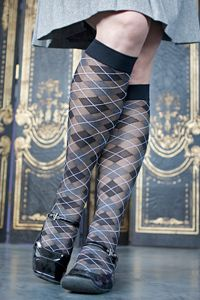 nothing says sexy librarian like sheer argyle knee high stockings.