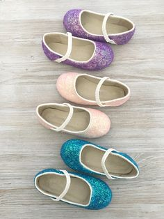 Girls INFANT & TODDLER Shoes - Blue, Lt Pink, and Purple glitter mary-jane flats perfect for frozen theme, flower girls, fairies, and prince