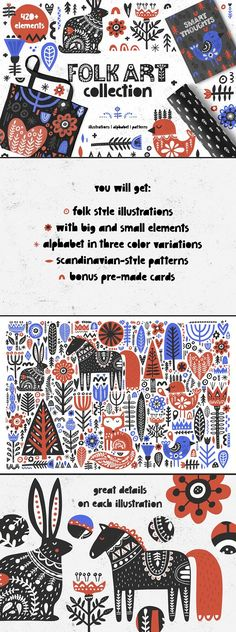 Great  Bundle Folk Art Graphic Collection by Favete Art Folk Art Collection is big set of graphic in scandinavian style - you will find animals, flowers, trees, hearts, ornaments and even an alphabet there, more than 420 elements in total. Mix & match illustrations with letters to create greeting cards or use graphic on t-shirts, posters, mugs.  affiliate