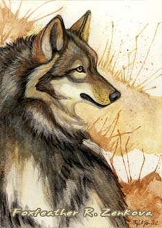 lupo totem  | to Ma'iingan lupo dipinto Print - Kindred spirito acquerello totem ...