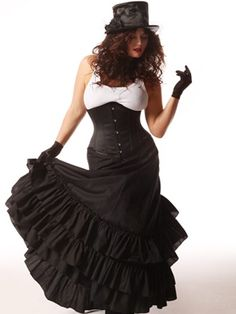 Victorian Bustle Skirt - 3 rows of ruffles.  Zips up and bustles in back.