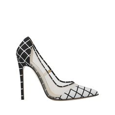 'Bay' - Double Panel Black and White Grid Print Single Sole Pump – Bionda Castana Online Store
