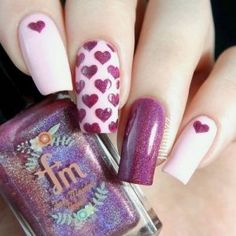 valentines day nails 45 So-Pretty Nail Art Designs For Valentine's Day Pretty Nail Designs, Simple Nail Art Designs, Pretty Nail Art, Short Nail Designs, Nail Designs Spring, Nail Art Violet, Purple Nail Art, Easy Diy Valentine's Nails, Trendy Nails