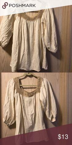 Women medium beige crocheted top. In excellent condition. Very beautiful Tops Blouses
