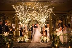 bride and groom share first kiss under chuppah looks like trees with branches foliage white flowers . Wedding Ceremony Ideas, Wedding Chuppah, Wedding Canopy, Ballroom Wedding, Tree Wedding, Ceremony Decorations, Wedding Ceremonies, Wedding Backdrops, Church Wedding