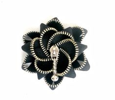 zipper brooch, black zipper,  Zipper Pin. 2.8 in/ 7 cm,eco friendly, recycled jewelry