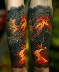 Mountain Volcano Half Sleeve Tattoo