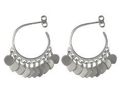 Me and Ro Me&Ro Sterling Silver Medium Fine Hoop Earrings with Lotus Petals