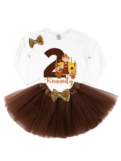 Fall Birthday Tutu Outfit - Personalized - MMofPhilly 2nd Birthday Shirt, Fall Birthday, Birthday Tutu, Birthday Ideas, Kids Clothing Brands, Tutu Outfits, Baby Girl Headbands, Autumn Theme, Matching Outfits