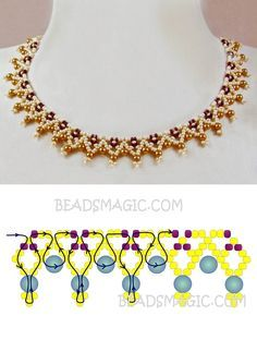 Free pattern for necklace Miranda seed beads 11/0 pearl beads 4 mm
