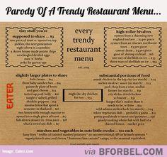 parody of a trendy restaurant menu