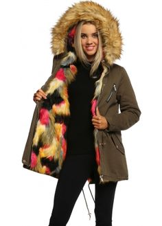 Designer Desirables Khaki Hooded Parka Lined With Baby Pink Luxe ...