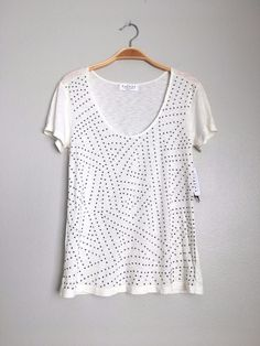 VELVET By Graham & Spencer Felicity Short Sleeve Stone Studded Tee Ivory S $88 #VelvetbyGrahamSpencer #Tee #Casual