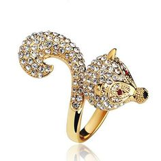 Beaded Crystal Elegant Unique Golden 3D Fox Cocktail Ring
