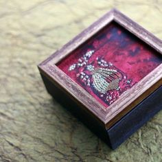 Small Zardozi Box - Crimson - A beautifully decorated wooden box with intricate zardozi patterns in deep crimson.