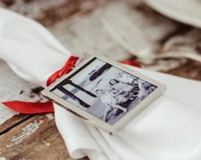 Ornaments - Love the idea of adding a picture as a napkin ring, makes it so personal  #homedecor