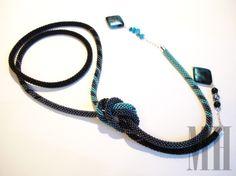 Turkusowo - czarny lariat | MH Biżuteria - cuda ręcznie wykonane