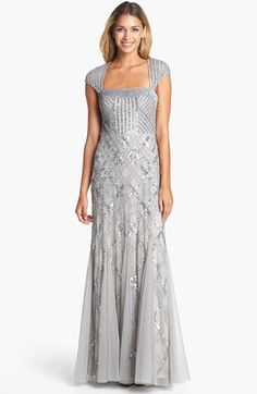 Womens 1920 Downton Abbey Inspired Clothing  - Adrianna Papell Embellished Mesh Mermaid Gown $298.00