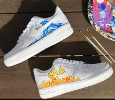 """Custom Air Force 1 Hand painted air forces Related posts: Tendance Sneakers 2018 : Nike Air Force 1 Custom CDG – """"The Spring"""" Custom Nike Air Force 1 Purple bolded Air Force 1 Nike Air Force 1 Sage – Beige – Damenschuhe Dr Shoes, Hype Shoes, Me Too Shoes, Shoes Men, Ballet Shoes, Air Force Shoes, Nike Shoes Air Force, Custom Painted Shoes, Hand Painted Shoes"""