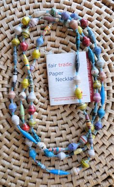 African Jewelry Paper Beads Necklace Kenya Fair Trade E | eBay