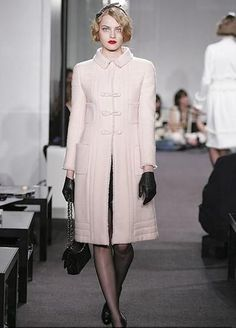 CHANEL Coat in Double Breasted Baby Pink Wool and Tweed from the Paris New York 2005/2006 Metiers D'arts Collection
