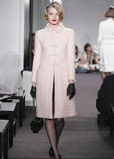 Black leather gloves, Pink CHANEL Coat, black stockings, black shoes, black bag