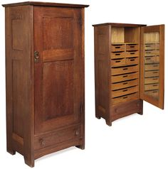 Early Gustav Stickley wardrobe, #624, single paneled door with original copper hardware over a single drawer with original facetted wood knobs, beveled top and arched toe board, complete interior contains mirrored door and open shelf over a series of drawers.