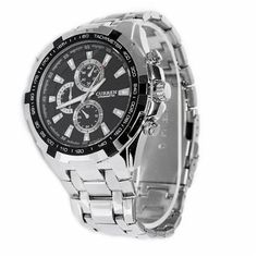 0f0ddd03e9ab Foxnovo CURREN 8023 Waterproof Men  s Round Dial Stainless Steel Band  Quartz Wrist Watch with Paper Package Box (Silver+Black)  Amazon.co.uk   Electronics