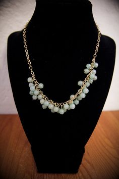 Gorgeous Green Jade Beaded Cluster Necklace by RWSJEWELRY on Etsy, $12.00