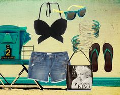 Subtle Beach Outfit - A halter black bikini top with a pair of denim shorts and some aqua accessories for the magical tint! #elitify #aeropostale #TheClosetLabel