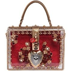 DOLCE & GABBANA Mini Sacred Heart Embellished Dolce Bag - Transparent/Red
