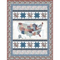 Windham Fabrics Across The USA Michael Mullan Cross Country Quilt Kit | Quilt Kit Hancocks Of Paducah, Country Quilts, Windham Fabrics, Quilt Kits, Quilt Top, Cross Country, Quilt Patterns, Blanket, Usa