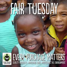 You've heard of Black Friday and Cyber Monday, but how about Fair Tuesday? Today, we challenge you to join the Fair Tuesday movement by buying one Fair Trade item or spreading the word to your friends: fairtradeusa.org/holidays