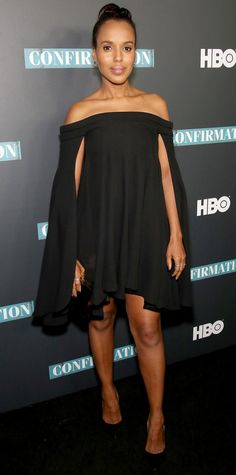 Kerry Washington Washington proved the power of a little black dress in an off-the shoulder caped Brandon Maxwell number and black pumps.
