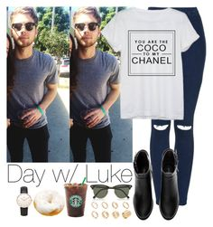 """""""Day w/ Luke"""" by vane-abreu ❤ liked on Polyvore featuring Topshop, Chanel, H&M, Ray-Ban, ASOS and Daniel Wellington"""