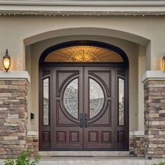 House Front Door Unique Double Front Doors with Stone Porch for Popular House Regard to 10 - Home Decoration Ideas Stone Exterior Houses, Stucco Exterior, Exterior Front Doors, House Paint Exterior, Exterior Paint Colors, Stucco House Colors, Stucco Siding, Home Door Design, House Design Photos