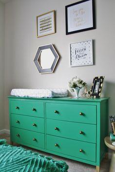 Green Dresser in this Emerald Nursery - Kate Spade Inspired Nursery Dresser, Bedroom Dressers, Girl Nursery, Girl Room, Baby Room, Ikea, Baby Girls, Baby Baby, Green Dresser