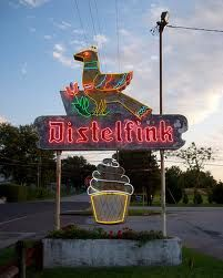 Distelfink Drive-In between Biglervill and Gettysburg. I've been here once a long time ago for ice cream. The place is closed now but they did everything here. Distelfink had its own bakery and according to my dad Distelfink served great homemade doughnuts and burgers but they were best known for their ice cream. YUMMMM!!!!