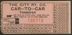 Streetcar transfer from City Rwy. Co. (Dayton, Ohio) - used from cutback cars to through cars. (date unknown)