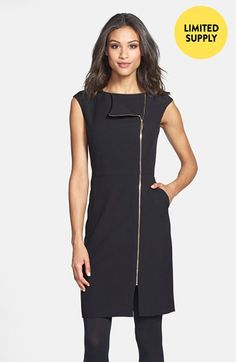 Ellen Tracy Zip Detail Sheath Dress (Regular & Petite) (Online Only) available at #Nordstrom