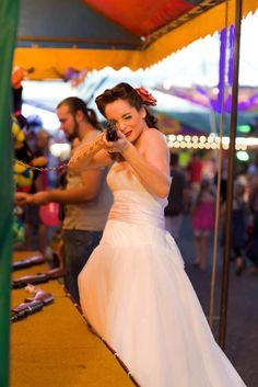 Couture Funfair - Carnival  wedding. Rainbow - Rockabilly Wedding. Unique Carnival Wedding Theme. Outdoor Venue.