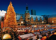 Leipzig, Germany, Christmas market by the Old Town Hall--I miss Germany! It would be beautiful.