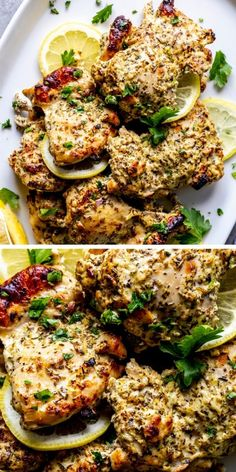 This Oven Baked Greek Chicken Thighs Recipe is a super fast and easy weeknight dinner idea. A quick and flavorful marinade with Greek yogurt, lemon, garlic and herbs helps make this chicken super tender and full of flavor!