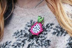 Брошь питахайя / драконий фрукт ручная вышивка хлопком основа - фетр размер - 7.54см цена - 270грн . hand embroidered dragon fruit brooch see more on my Etsy shop (link in profile)