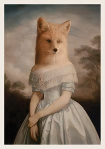 Anthropomorphic Fox lady by Stephen Mackey Arte Lowbrow, Arte Obscura, Fox Art, Animal Heads, Surreal Art, Oeuvre D'art, Pet Portraits, Fantasy Art, Art Gallery
