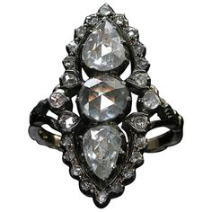 Georgian Rose Cut Diamond Silver Gold Ring | From a unique collection of vintage more rings at https://www.1stdibs.com/jewelry/rings/more-rings/