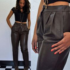 Vintage Gucci Brown Leather Pants by MaevenOnEtsy on Etsy, $225.00 ...